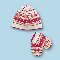Baker by Ted Baker - Babies pink knitted hat and mittens set