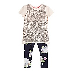 Baker by Ted Baker - Girls' pink sequin top and navy floral print leggings set