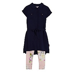 Baker by Ted Baker - Girls' navy shirt and floral print leggings