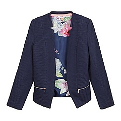 Baker by Ted Baker - Girls' navy soft edge floral lined jacket