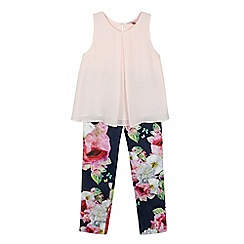 Baker by Ted Baker - Girls' pink floral print top and trousers set