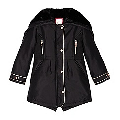 Baker by Ted Baker - Girls' black split hood shower resistant parka jacket