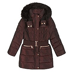 Baker by Ted Baker - Girls' dark red padded parka coat