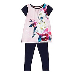 Baker by Ted Baker - Girls' pink floral print top and navy leggings set