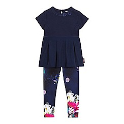 Baker by Ted Baker - Girls' navy textured pleated top and graphic print leggings set