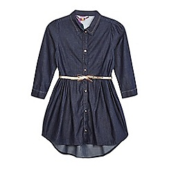 Baker by Ted Baker - Girls' navy belted chambray dress