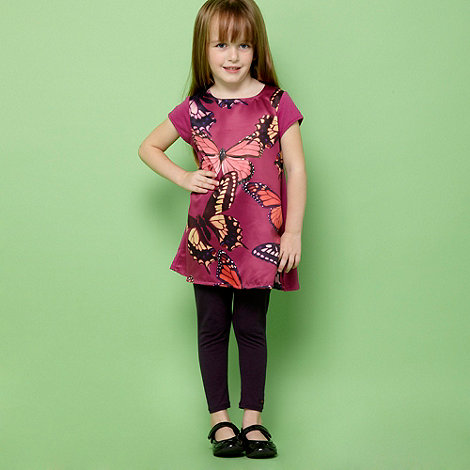 Baker by Ted Baker - Girl+s dark pink butterfly tunic and leggings