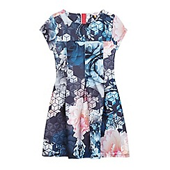 Baker by Ted Baker - Girls' blue graphic and rose print scuba dress