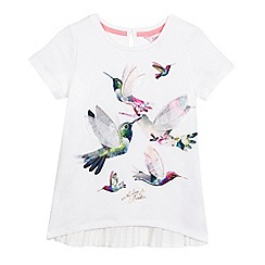 Baker by Ted Baker - Girls' white hummingbird applique pleated back top