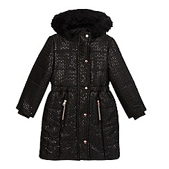 Baker by Ted Baker - Girls' black jacquard padded parka coat