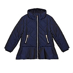 Baker by Ted Baker - Girls' navy quilted shower resistant peplum coat