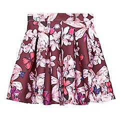 Baker by Ted Baker - Girls' dark pink crystal flower print scuba skirt