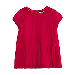Baker by Ted Baker - Girls' dark pink pleated short sleeve top