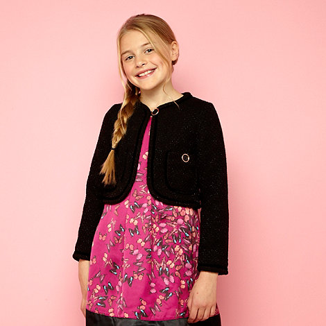 Baker by Ted Baker - Girls black knitted boucle jacket