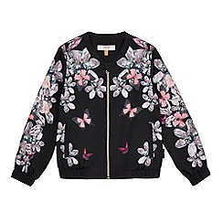Baker by Ted Baker - Girls' black floral print stone embellished bomber jacket