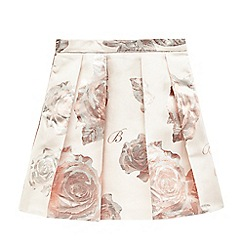 Baker by Ted Baker - Girls' pink floral foil-effect pleated skirt