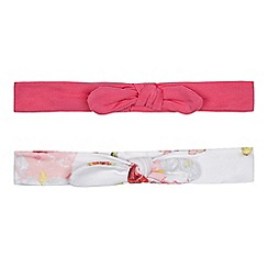 Baker by Ted Baker - Pack of two baby girls' pink and white floral print bow applique headbands