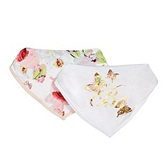 Baker by Ted Baker - Pack of two baby girls' pink floral and white logo print bibs