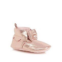 Baker by Ted Baker - Baby girls' pink glittery bow applique booties