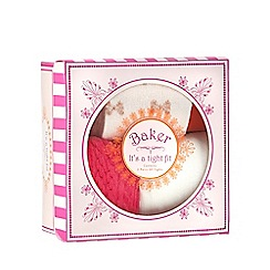 Baker by Ted Baker - Pack of three baby girls' pink and cream tights in a gift box