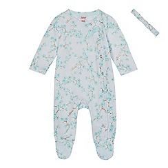 Baker by Ted Baker - Baby girls' light white floral print sleepsuit and headband set