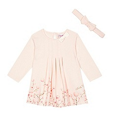 Baker by Ted Baker - Baby girl's light pink floral print dress and headband set