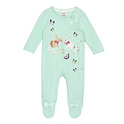 Baker by Ted Baker - Baby girls' light green bunny applique sleepsuit