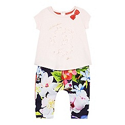 Baker by Ted Baker - Baby girls' pink floral print harem trousers and top set