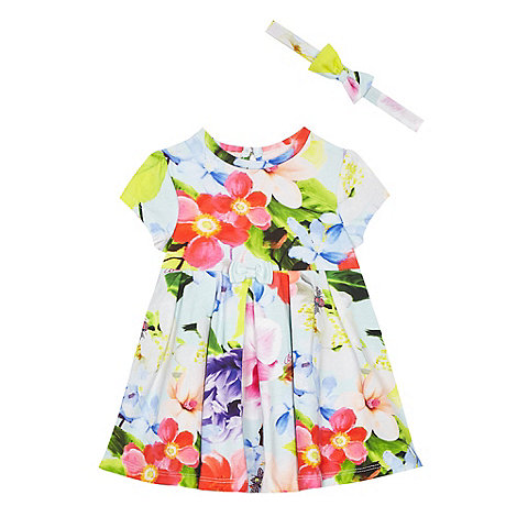 Baker by Ted Baker - Baby girls+ multi-coloured floral print dress and headband set