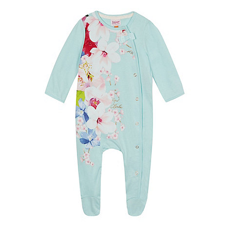 Baker by Ted Baker - Baby girls+ light green floral print sleepsuit