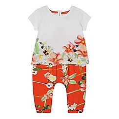 Baker by Ted Baker - Baby girls' white floral top and orange harem trousers set