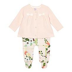 Baker by Ted Baker - Baby girls' light pink mock jacket romper suit
