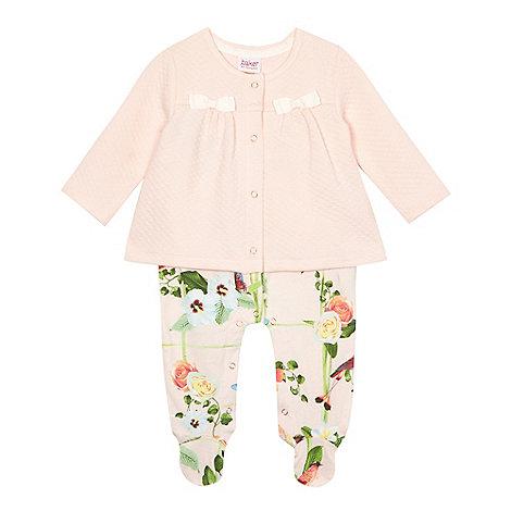 Baker by Ted Baker - Baby girls+ light pink mock jacket romper suit
