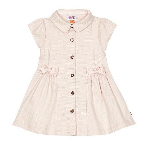 Baker by Ted Baker - Baby girls+ light pink textured shirt dress