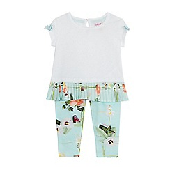 Baker by Ted Baker - Baby girls' white and green top and floral print leggings set