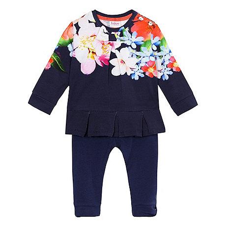 Baker by Ted Baker - Baby girls+ navy peplum top and leggings set