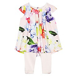 Baker by Ted Baker - Baby girls' pink floral print swing top and quilted leggings set