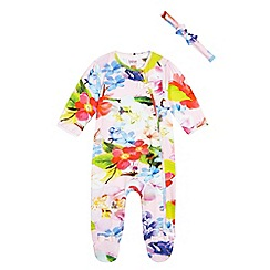 Baker by Ted Baker - Baby girls' multi-coloured floral print sleepsuit and headband set