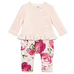 Baker by Ted Baker - Baby girls' light pink quilted floral print romper suit