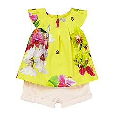 Baker by Ted Baker - Baby girl's yellow floral print top and pink textured shorts set