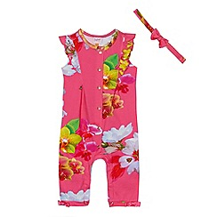 Baker by Ted Baker - Baby girls' pink orchid print sleepsuit and headband set