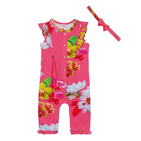 Baker by Ted Baker - Baby girls+ pink orchid print sleepsuit and headband set