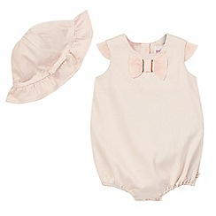 Baker by Ted Baker - Baby girls' textured pink frilled bodysuit and hat set