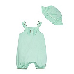Baker by Ted Baker - Baby girls' green pique romper suit and hat set
