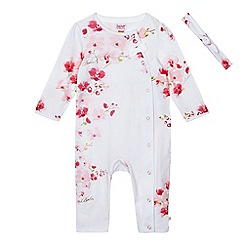 Baker by Ted Baker - Baby girls' pink floral print sleepsuit with a headband