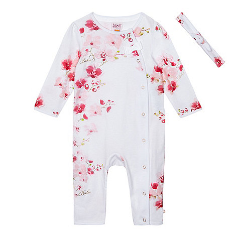 Baker by Ted Baker - Baby girls+ pink floral print sleepsuit with a headband