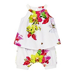 Baker by Ted Baker - Baby girls' white floral print top and shorts set