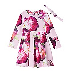 Baker by Ted Baker - Baby girls' pink floral print dress with a headband