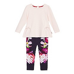 Baker by Ted Baker - Girls' pink floral print top and bottoms set