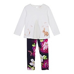 Baker by Ted Baker - Girls' off white bunny print top and leggings set